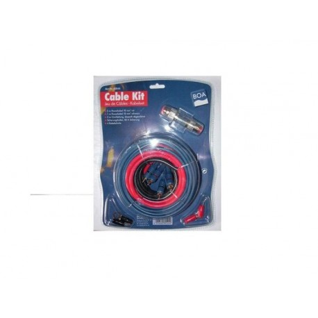 KIT CABLE RCA + CABLE ALIM 6MM2 + PORTE FUSIBLE + FUSIBLE + 4 COSSES