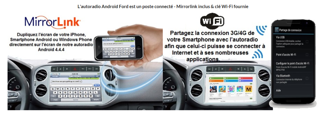autoradio android 444 wifi gps waze ford kuga c max s max fiesta focus fusion transit mondeo. Black Bedroom Furniture Sets. Home Design Ideas